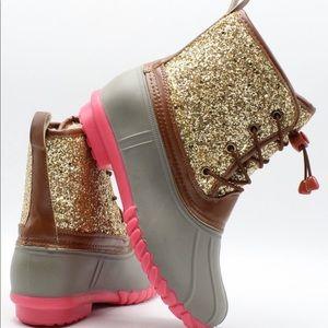 NEW** GIRLS GOLD GLITTERS DUCK BOOTS